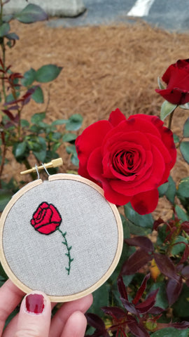 red rose hand embroidery