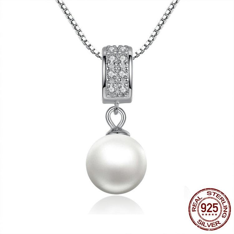 Sterling Silver With Simulated Pearl And Zircon Pendant Necklace -100% Authentic 925 Sterling Silver - Handy Treat