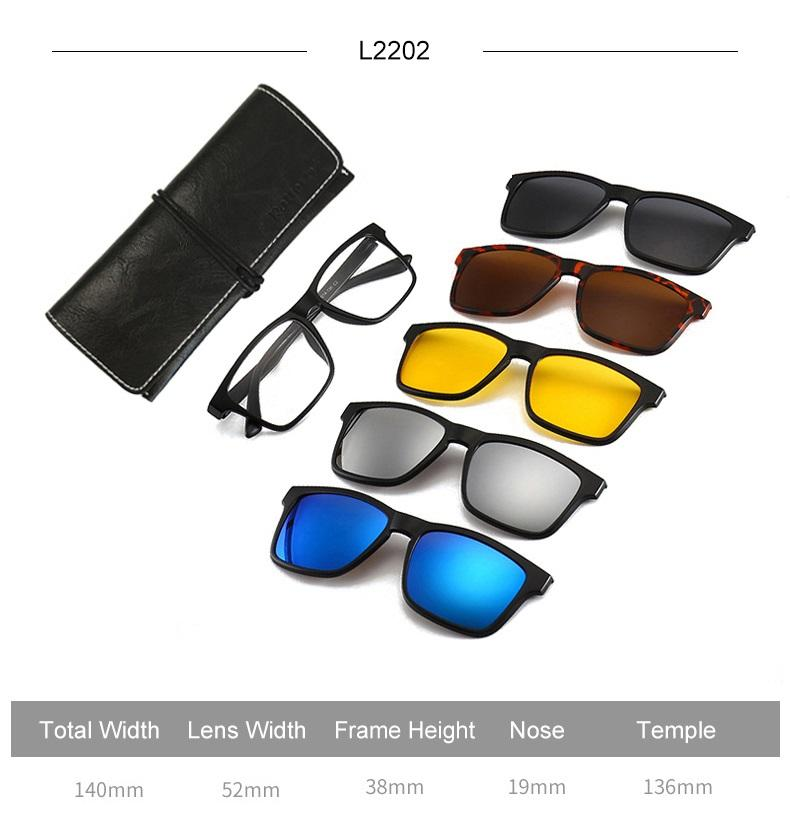 5 in 1 Magnetic Polarized & UV400 Sunglasses HT1 (Men & Women)