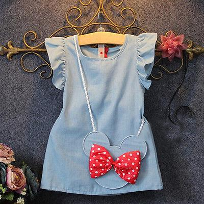 Denim-type Minnie Mouse Dress (12m -4yrs) - Handy Treat