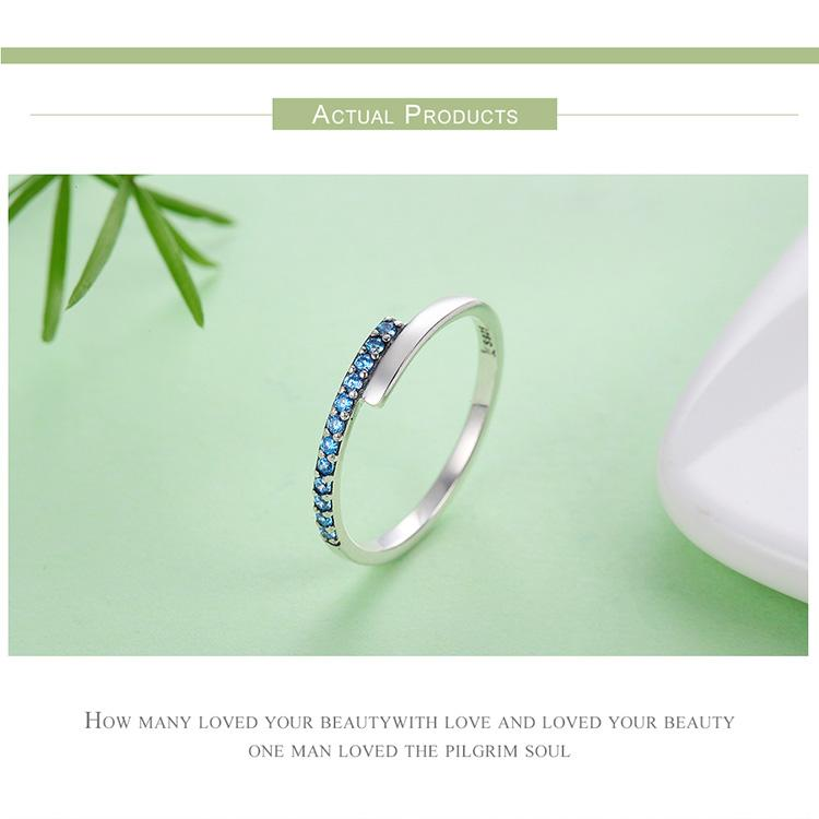Blue Sparkling Silver Ring - 100% Authentic 925 Sterling Silver - Handy Treat