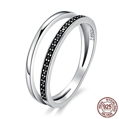 Double Hoop Silver Ring with Cubic Zirconia - 100% Authentic 925 Sterling Silver (Available in 3 different stone colors)