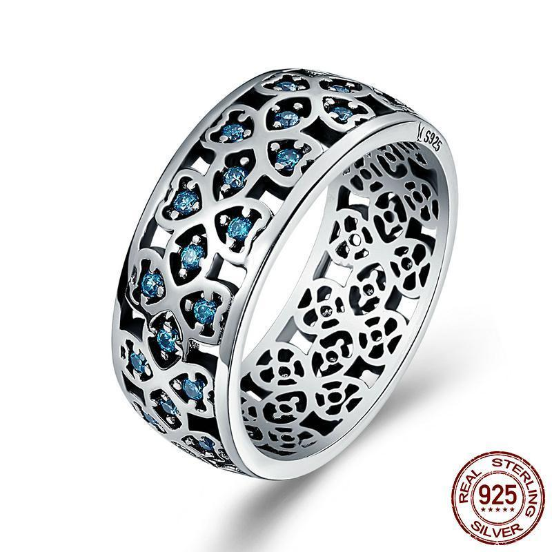 Blue Petals of Love Silver Ring - 100% Authentic 925  Sterling Silver - Handy Treat