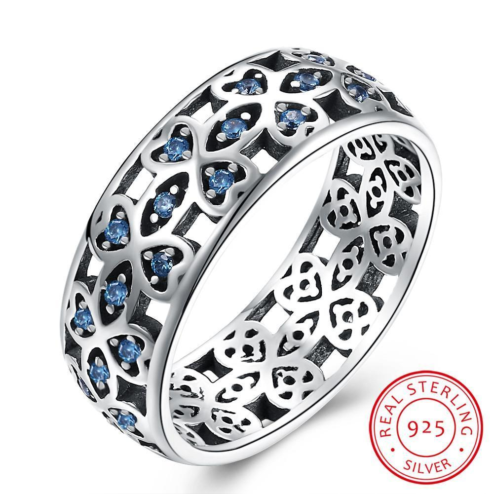 Blue Petals of Love Silver Ring - 100% Authentic 925 Sterling Silver (6-9) - Handy Treat