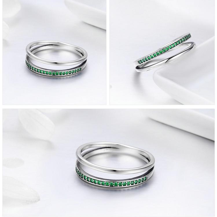 Double Hoop Silver Ring with Cubic Zirconia - 100% Authentic 925 Sterling Silver (Available in 3 different stone colors) - Handy Treat