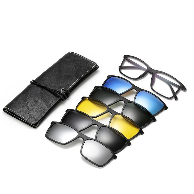 5 in 1 Magnetic Clip-On Polarized Sunglasses HT2 (Men & Women)
