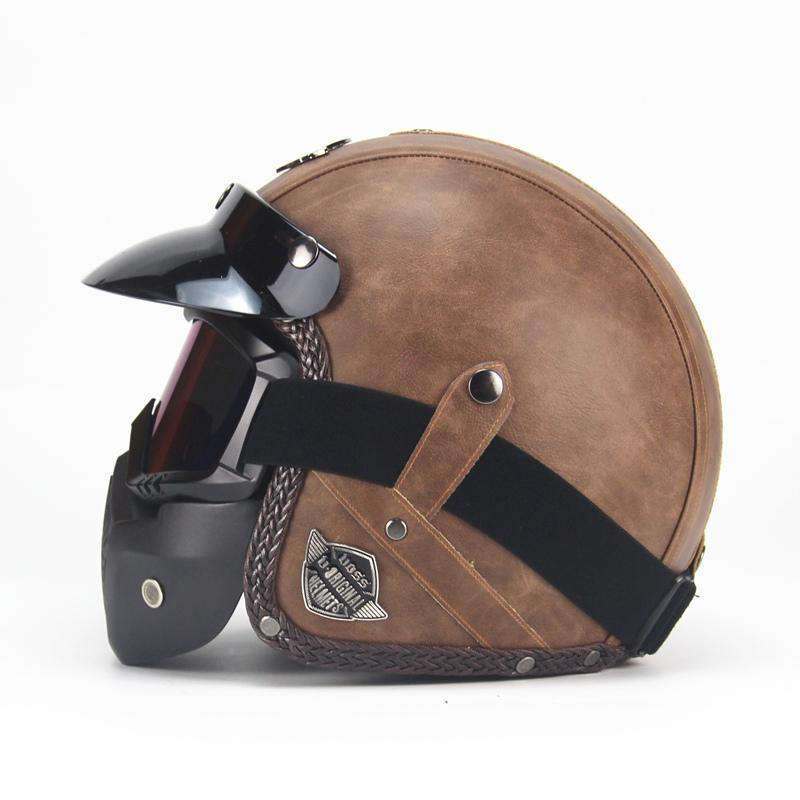 Retro Vintage 3/4 Motorcycle Helmet with Removable Mask & Sun Shield - Handy Treat