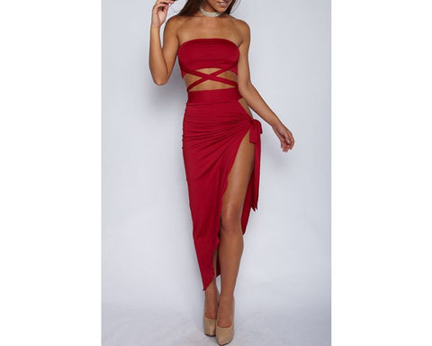 SOLID BANDAGE TWO PIECE SKIRT SET