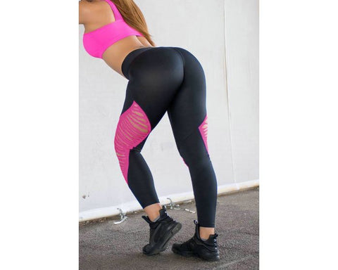 PINK CUTOUT STITCHED LEGGINGS