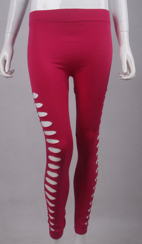 ROSE RED TWO SIDE LEGGINGS 0S