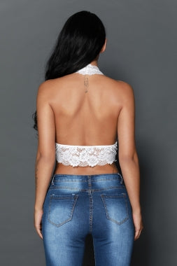 HOLLOW OUT LACE HALTER BRALETTE