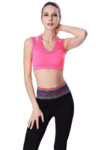 HIGH QUALITY PADDED FITNESS SPORTS BRA PINK