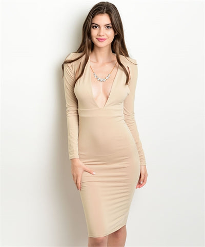 SEXY LONG SLEEVE SHOULDER PADDED DRESS