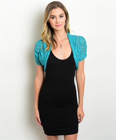 TEAL LACE FASHION TOP