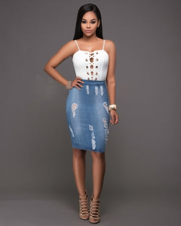 WHITE LACED-UP VEST TOP AND WASHED BLUE DENIM MIDI SKIRT