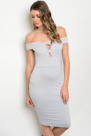 LIGHT GREY OFF THE SHOULDER DRESS