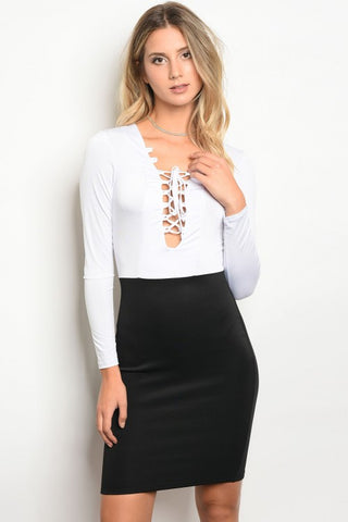 WHITE AND BLACK LONG SLEEVE FASHION DRESS