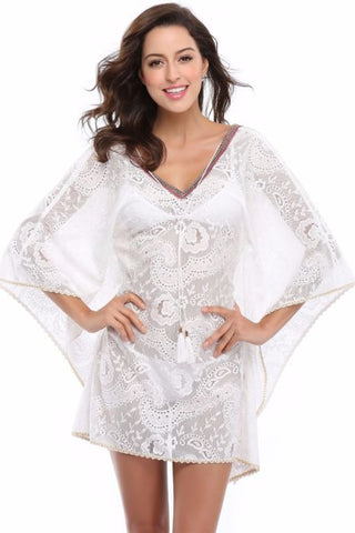 WHITE LACE COVER UP BEACH SLIP