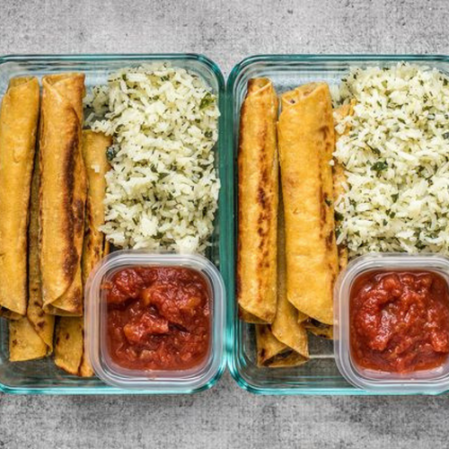 Chicken Taquito w/ Cilantro Lime Rice & Salsa