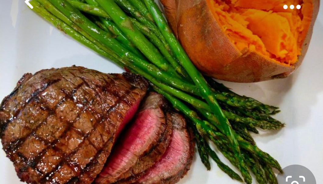 Grilled steak, remixed baked sweet potato and roasted asparagus