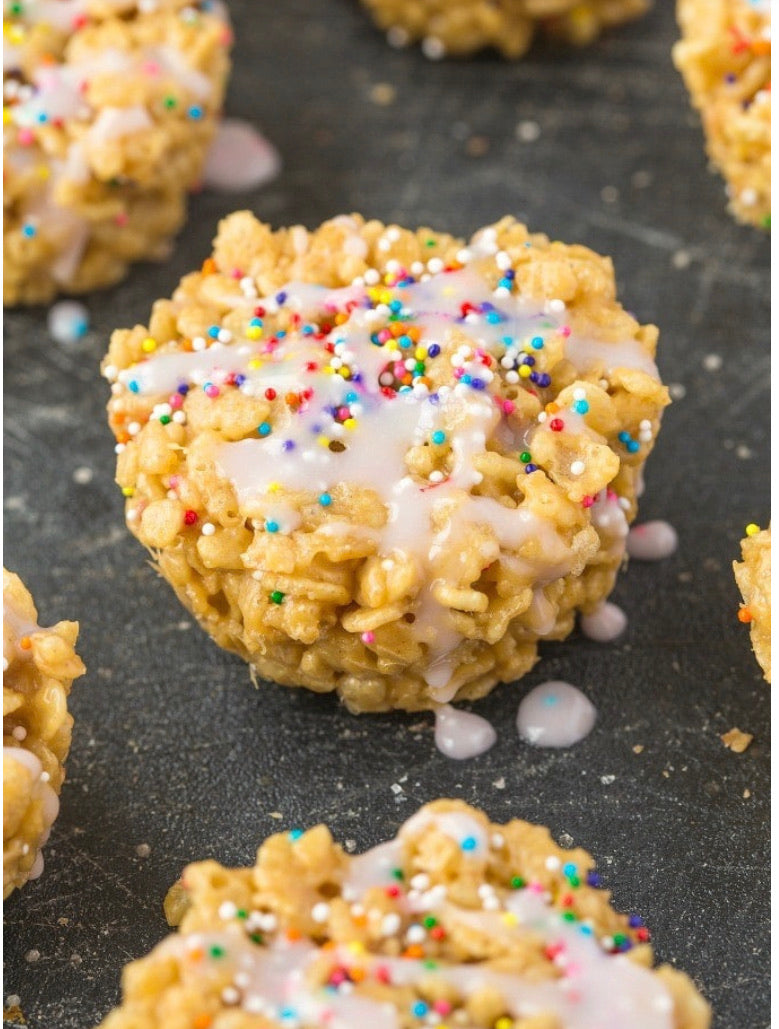 Protein packed cake batter Rice Krispie treats
