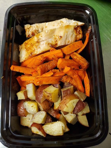Parmesan Garlic Herb Chicken, New Potatoes & Roasted Carrots