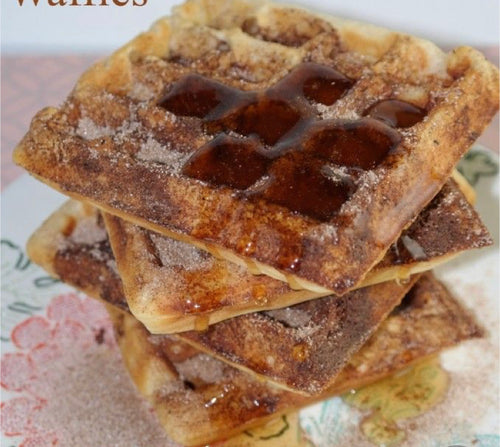 Cinnamon Toast Crunch protein waffles w/ maple sausage