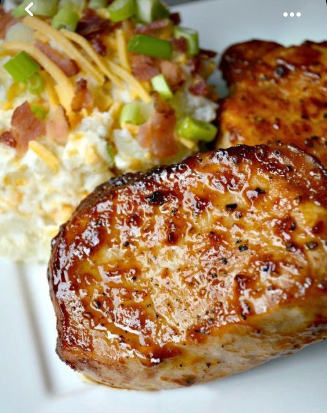 BBQ Pork chop with loaded baked potato salad