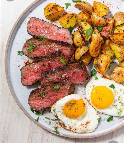 Steak and eggs with roasted breakfast potatoes
