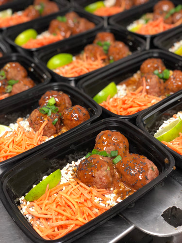 Honey Siracha Glazed Meatballs w/ Quinoa Blend