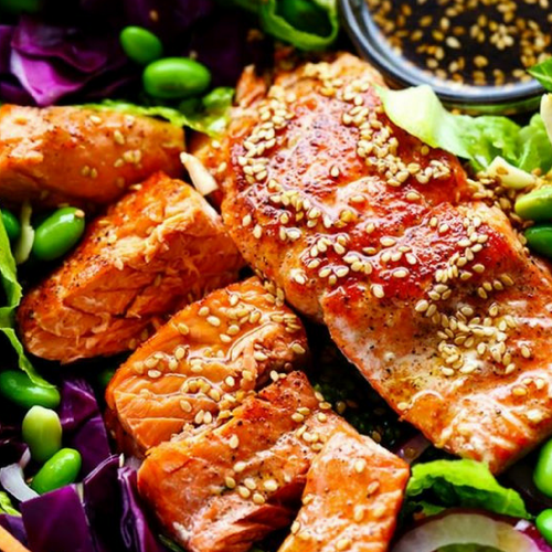 Asian Salmon Salad with Honey Sesame Dressing