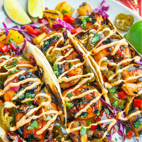 Teriyaki Grilled Shrimp and Pineapple Tacos
