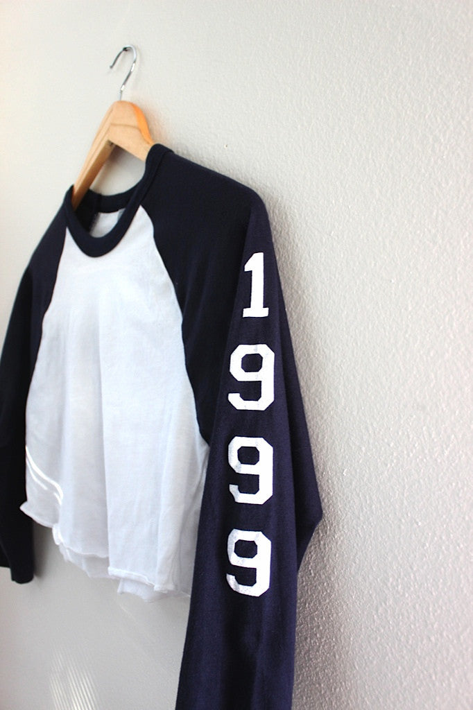 1999 Navy Blue and White Cropped Baseball Tee