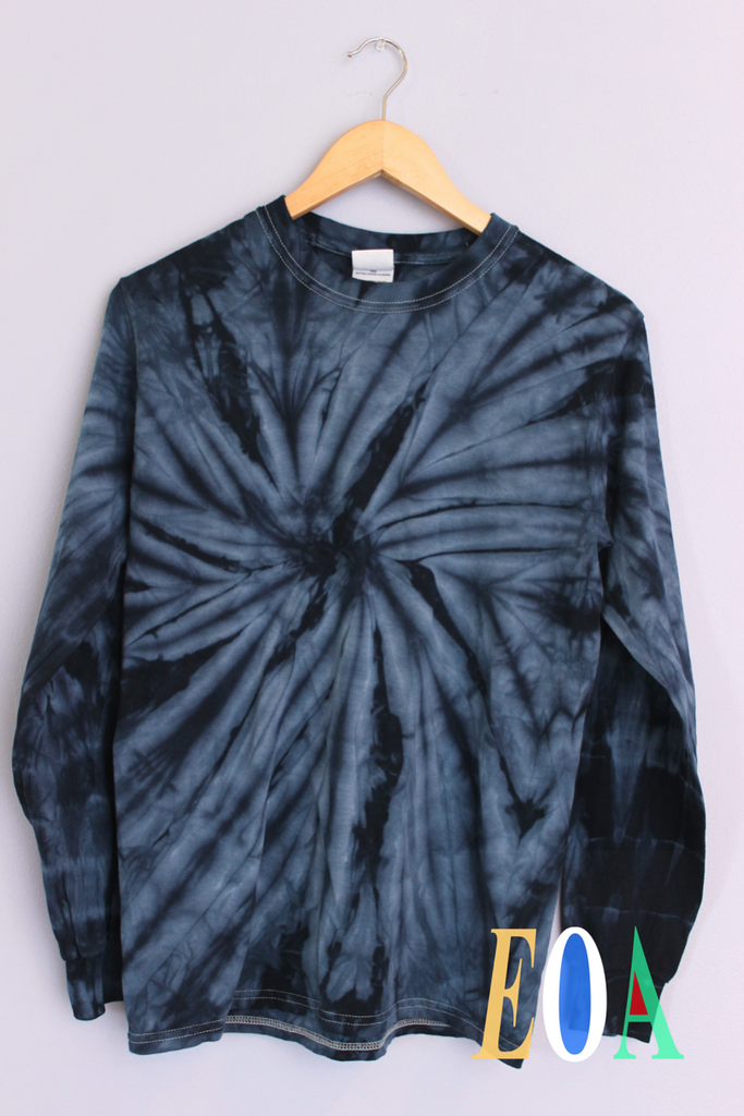 Midnight Blue Tie-Dye Long Sleeve Unisex Tee