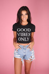 Good Vibes Only Black Graphic Crop Top