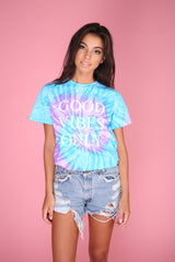 Good Vibes Only Purple and Blue Tie-Dye Graphic Unisex Tee