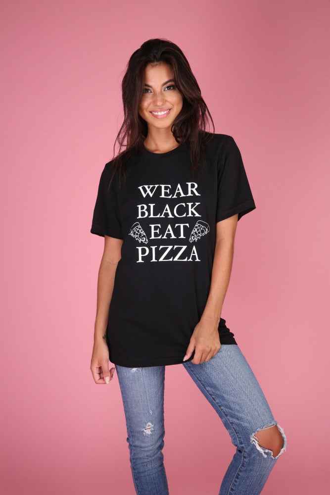 Wear Black, Eat Pizza Graphic Unisex Tee