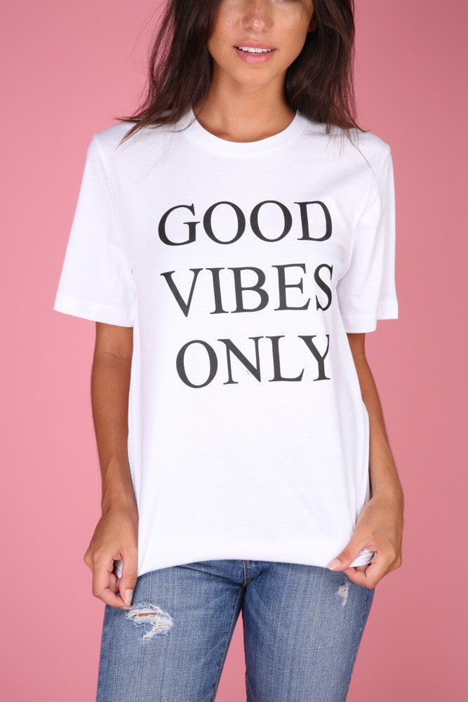 Good Vibes Only White Graphic Unisex Tee