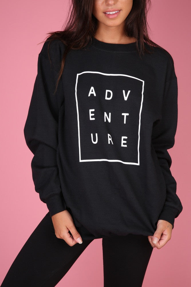 ADVENTURE Black Graphic Crewneck Sweatshirt