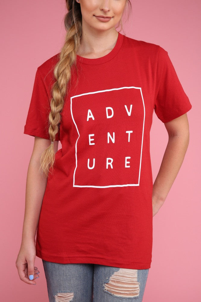 Adventure Red Graphic Unisex Tee