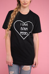 I Love Evan Peters Black Graphic Unisex Tee