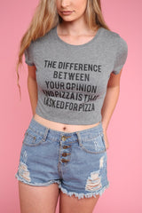 Opinion or Pizza Gray Graphic Crop Top