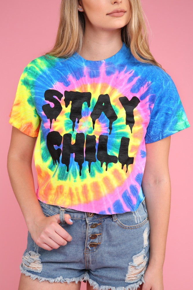 68d15a38b63a2 STAY CHILL Neon Rainbow Tie-Dye Graphic Crop Top – Era of Artists