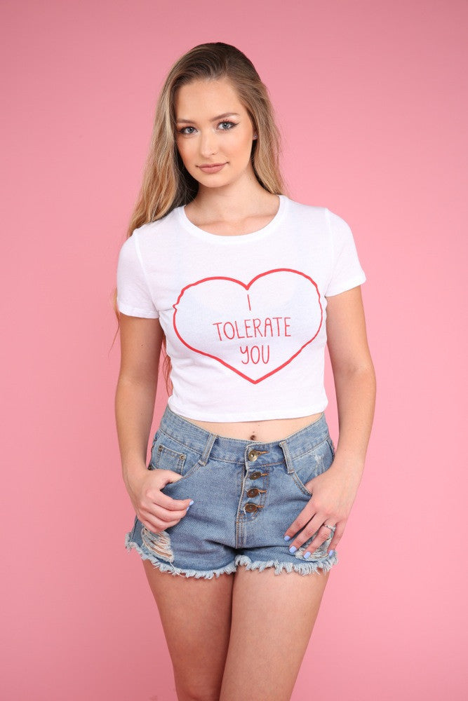 I Tolerate You White Graphic Crop Top