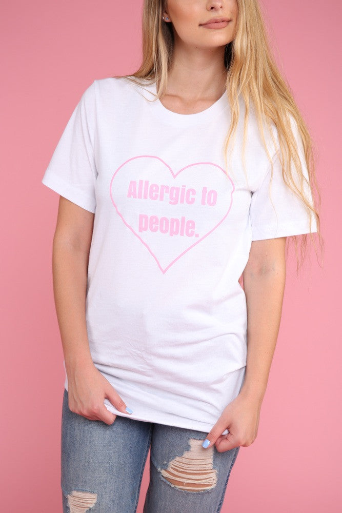 Allergic To People White Graphic Unisex Tee