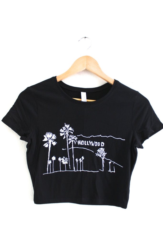 Hollywood, California Black Graphic Crop Top