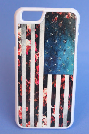 Roses and Skulls American Flag Phone Case