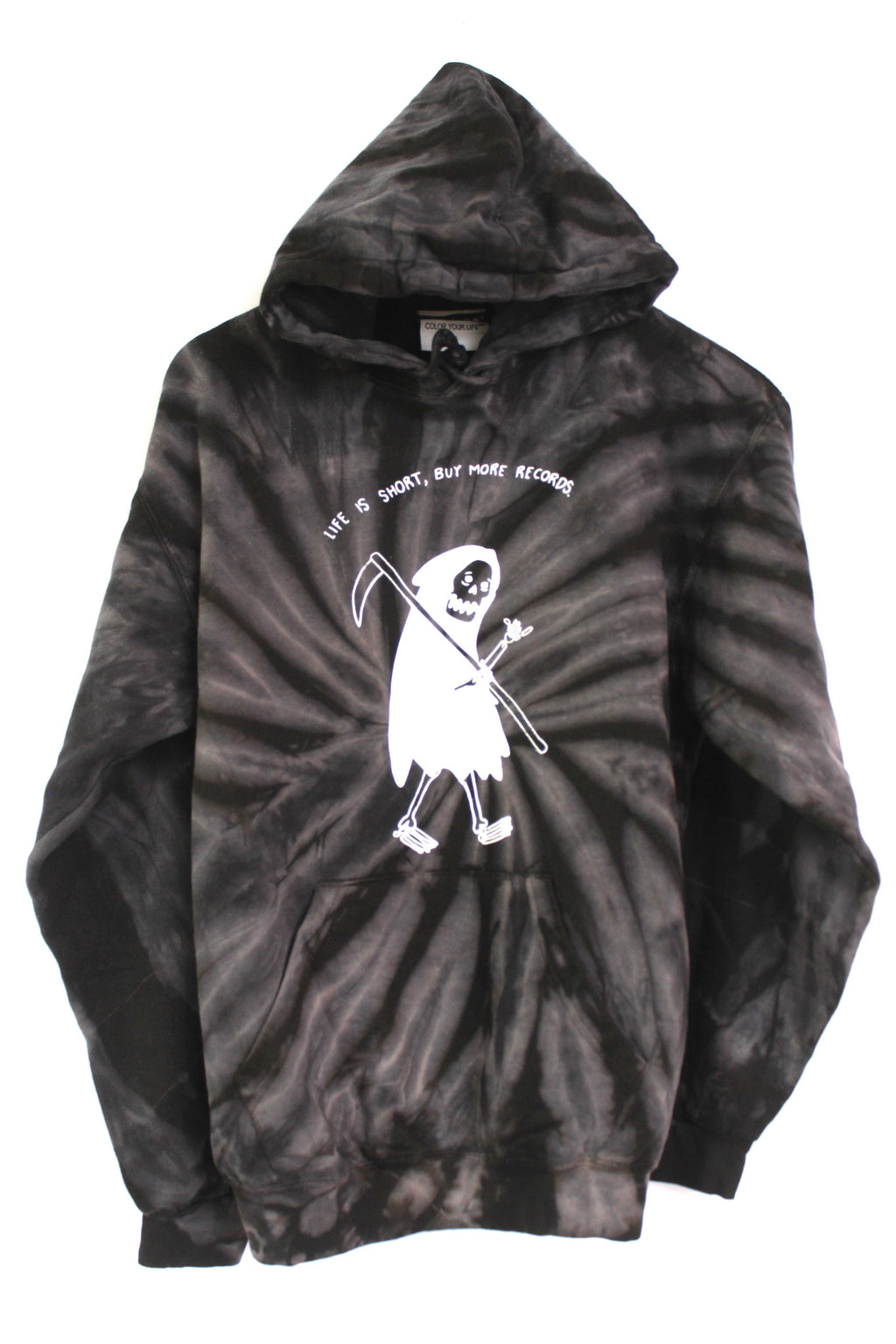 Buy More Records Grim Reaper Black Tie-Dye Hoodie