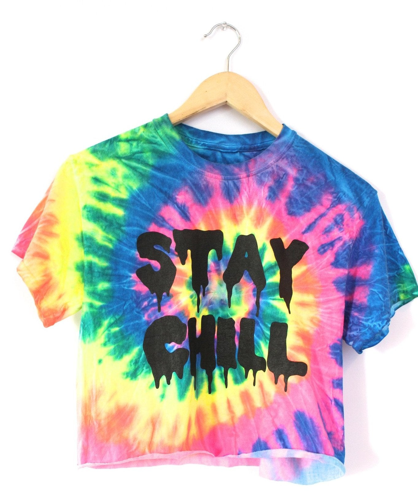 STAY CHILL Neon Rainbow Tie-Dye Graphic Crop Top