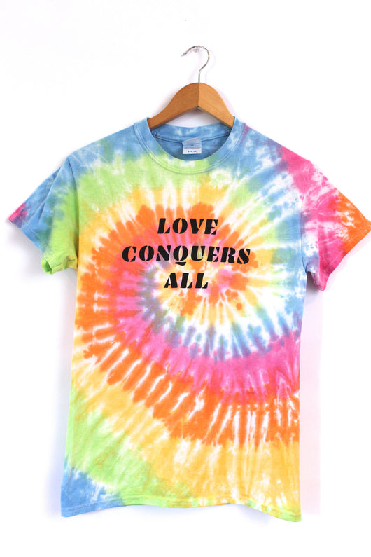 Love Conquers All Pastel Rainbow Tie-Dye Graphic Unisex Tee